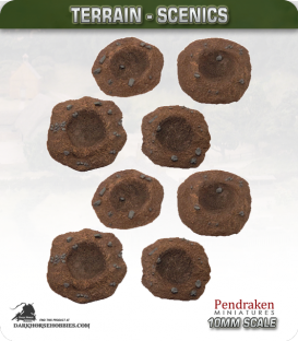 Terrain Scenics (10mm): Shell Craters 8 Pack (asstd sizes)