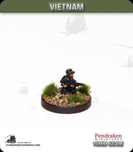 10mm Vietnam: NVA/VC - Infantry in Bush Hat with Vz 30 LMG - Kneeling