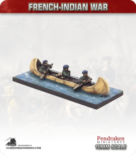 10mm French-Indian War: Birch Bark Canoe - Ranger Crew