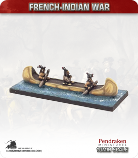 10mm French-Indian War: Birch Bark Canoe - Indian crew
