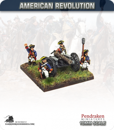 10mm American Revolution: 6pdr Battalion Guns with Ammo Boxes and Crew