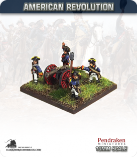 10mm American Revolution: 3pdr Guns with Crew