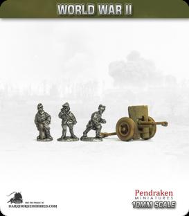 10mm World War II: French - 75mm Field Gun with Crew (pheumatic wheels)