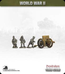 10mm World War II: French - 75mm Field Gun with Crew (spoked wheels)