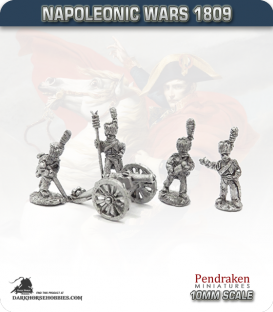 10mm Napoleonic Wars (1807-14): French 4pdr Guns (with guard horse crew)