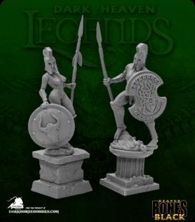 Dark Heaven Bones Black: Amazon and Spartan Living Statues (Bronze)