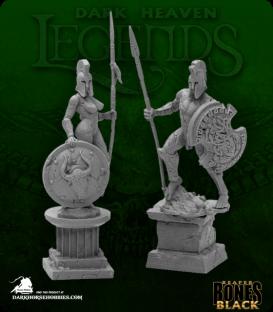 Dark Heaven Bones Black: Amazon and Spartan Living Statues (Stone)