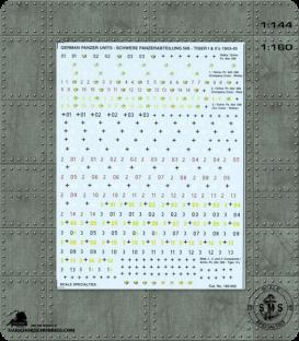 Decals (1:160): German Panzer Units - Tiger I, II - 1943-45