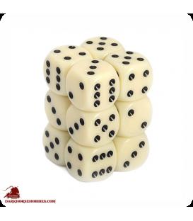 Opaque 16mm d6 Ivory/Black dice set (12)