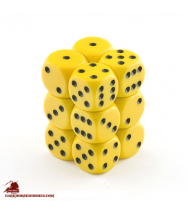 Chessex: Opaque 16mm d6 Yellow/Black dice set (12)