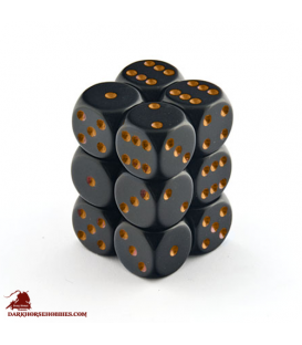 Chessex: Opaque 16mm d6 Black/Gold dice set (12)