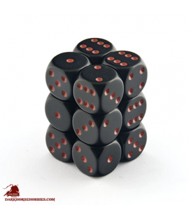 Chessex: Opaque 16mm d6 Black/Red dice set (12)