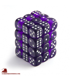 Chessex Dice: Translucent 12mm d6 Purple/White dice set (36)