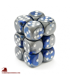 Chessex: Gemini 16mm d6 Blue Steel/White dice set (12)