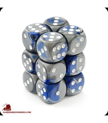 Chessex: Gemini 16mm d6 Blue Steel/White dice set (12)