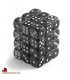Chessex Dice: Translucent 12mm d6 Smoke/White dice set (36)