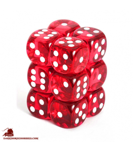 Chessex Dice: Translucent 16mm d6 Red/White dice set (12)