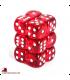 Chessex Dice: Translucent 16mm d6 Red/White dice set (12)