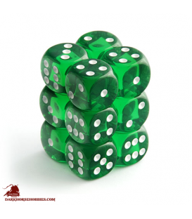 Chessex Dice: Translucent 16mm d6 Green/White dice set (12)