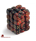 Chessex: Gemini 12mm d6 Black Red/Gold dice set (36)