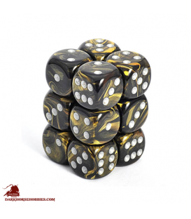 Chessex: Leaf 16mm d6 Black Gold/Silver dice set (12)