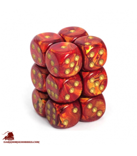 Chessex: Scarab 16mm d6 Scarlet/Gold dice set (12)