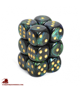 Chessex: Scarab 16mm d6 Jade/Gold dice set (12)