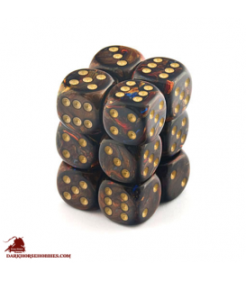 Chessex: Scarab 16mm d6 Blue Blood/Gold dice set (12)