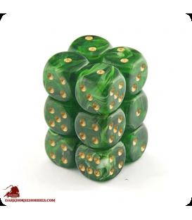 Chessex: Vortex 16mm d6 Green/Gold dice set (12)