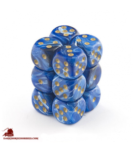 Chessex: Vortex 16mm d6 Blue/Gold dice set (12)