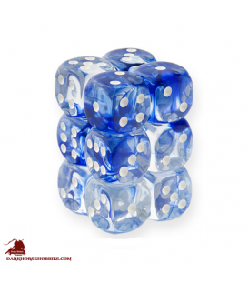 Chessex: Nebula 16mm d6 Dark Blue/White dice set (12)