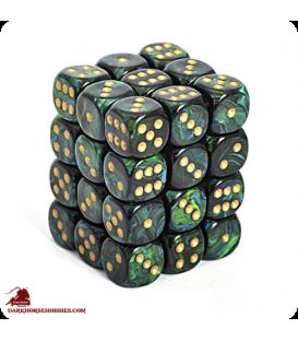 Chessex: Scarab 12mm d6 Jade/Gold dice set (36)