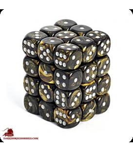 Chessex: Leaf 12mm d6 Black Gold/Silver dice set (36)