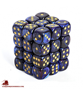 Chessex: Scarab 12mm d6 Royal Blue/Gold dice set (36)