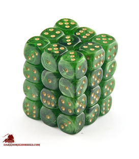 Chessex: Vortex 12mm d6 Green/Gold dice set (36)