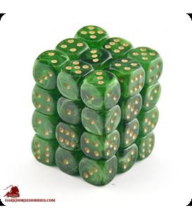 Chessex: Vortex 12mm d6 Green/Gold dice set (36)