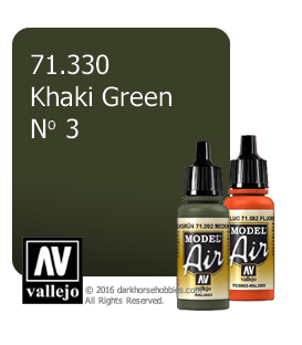 Vallejo Model Air: Khaki Green No 3 (17ml)