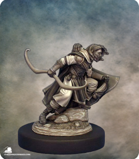 Visions in Fantasy: Male Ranger with Bow or Wineskin (painted by Jennifer Haley)