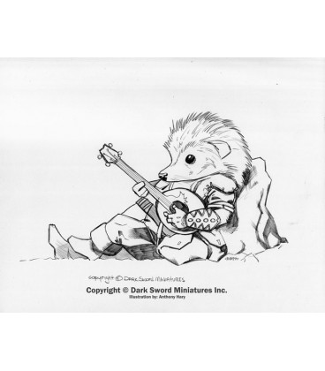 Critter Kingdoms: Hedgehog Bard with Lute (artwork)