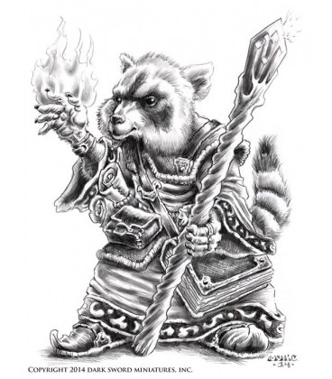 Critter Kingdoms: Raccoon Mage with Staff (artwork)