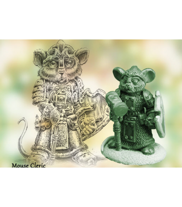 Critter Kingdoms: Mouse Cleric with Warhammer (master sculpt by Dave Summers)