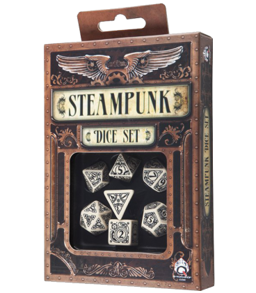 Beige-Black Steampunk dice set
