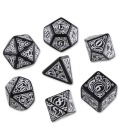 Black-white Steampunk dice set