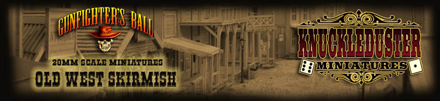 Shop Dark Horse Hobbies for Gunfighter's Ball Tabletop Skirmish Wargame complete with Miniatures, Scenery and More! (by Knuckleduster Miniatures)